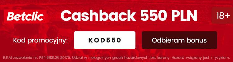 betclic darmowy cashback 550 pln
